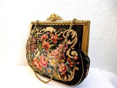 Antique tapestry purse, gobelin handbag, enameled brass frame, floral needlepoint purse, black carpet pouch, victorian purse, kilim purse