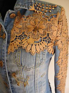 Stud details.DENIM VINTAGE LACE JACKET                                                                                                                                                                                 More                                                                                                                                                                                 More