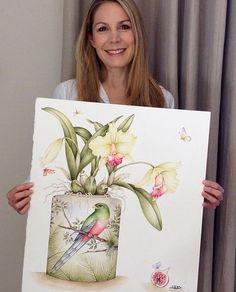 kellyhiggsbotanicalart #botanicalart #floralart #flowers #decorativebotanicalart #decorativebotanicals #kellyhiggs #orchidpainting #birdsandflowers #botanicalartist #orchids
