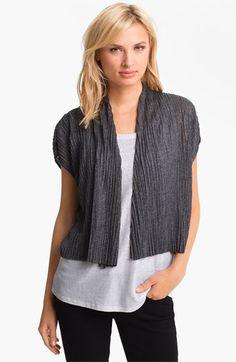 Eileen Fisher Crinkled Short Sleeve Cardigan (Petite) available at Nordstrom