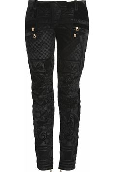 (If I had a $1,109 to throw away) Velvet-brocade moto-style low-rise skinny jeans by Balmain