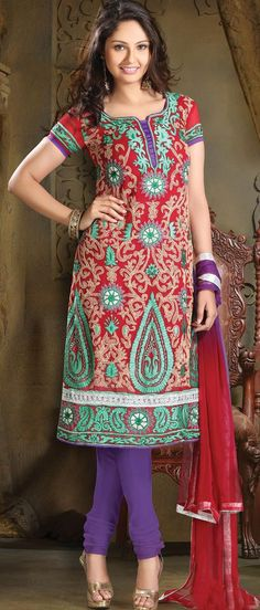 Red Faux Georgette A-Line Churidar Kameez @ US $85.50 | Shop Here: http://www.utsavfashion.com/store/sarees-large.aspx?icode=kku7