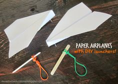 Paper airplanes have been a favorite with our oldest son for ages (check out our airplane race here). But this time, I he was REALLY psyched. We made a launcher for our planes!   What you needa piece