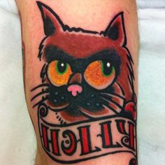 Cat tattoo By Iva  The Fat Anchor 4A Albany Road Newquay, Cornwall If you are interested in having a tattoo by these two artists, please contact us at Fb page https://www.facebook.com/thefatanchor/
