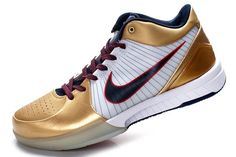 Nike Zoom Kobe IV Mens Basketball Shoes - Gold/White For $66.00 Go To:  http://www.cheapkobeshoesmall.com