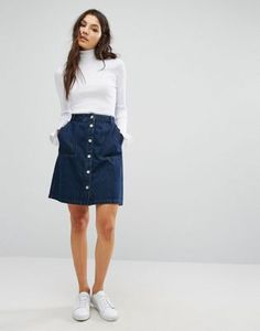 Only Denim Skirt with Button Front