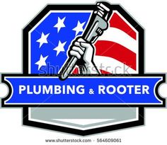 Illustration of a plumber hand holding pipe wrench viewed from the side set inside shield crest with usa stars and stripes flag in the background and the words text Plumbing & Rooter #plumbing #retro #illustration