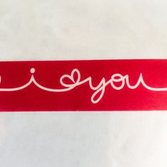 I LOVE YOU Wide Washi Tape Red Hearts White Script Text Valentine Heart Valentines Day cards wedding card Valentine craft planner crafts