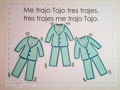 """Hoja de Trabalenguas: """"Me trajo Tajo tres trajes"""" con Ilustración. Más fotografías dando clic a la imagen. Blade"""