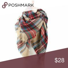 Classic Tartan Blanket Scarf Soft blanket scarf in a classic tan tartan plaid. Fringe edges. Can also be worn as a wrap or shawl. 55 x 55. NO TRADES Accessories Scarves & Wraps