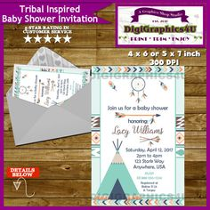 Native American Indian Tribal It's a Boy Shower by DigiGraphics4u #tribal #native #American #indian #baby #shower #invitation @etsy