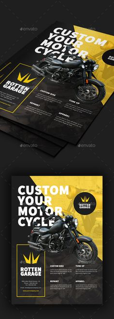 Motorcycle Custom Garage Flyer Template PSD
