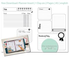 The Mintgreen Polkadot | free Download: updated Planner Inserts A5 / personal size | http://themintgreenpolkadot.com