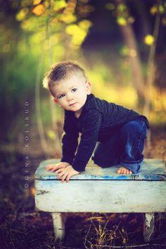 little boy on bench