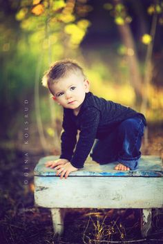 little boy on bench