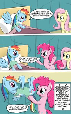 There's a new Spider-Man in town, Spider Pony or should it be Spider Dash? My Little Pony Cartoon, My Little Pony Characters, Mlp Comics, Funny Comics, Rainbow Dash, Deviantart Comic, Read It And Weep, Mlp Memes, Dark Art Illustrations