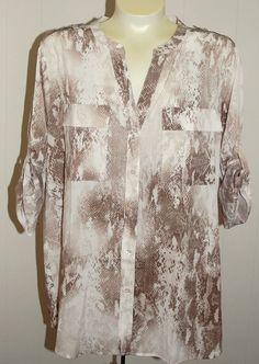 Calvin Klein Blouse XL NWT Brown Beige $69 Shirt V Neck Roll Tab #CalvinKlein #Blouse