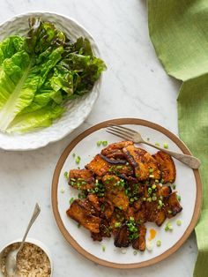 Move over, bacon! There's a new pork in town. Serve pork belly with brown rice in lettuce wraps. | Korean Style Spicy Pork Belly