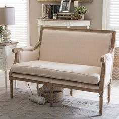 Shop for Chavanon Wood And Cotton Traditional French Loveseat. Get free shipping at Overstock.com - Your Online Furniture Outlet Store! Get 5% in rewards with Club O! - 17135616