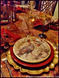 Thanksgiving Tablescape with Turkey Centerpiece and Pottery Barn Turkey Salad Plates Fall Table Settings, Thanksgiving Table Settings, Beautiful Table Settings, Thanksgiving Tablescapes, Holiday Tables, Thanksgiving Decorations, Place Settings, Vintage Thanksgiving, Happy Thanksgiving