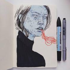"Daria Golab (@dariaesste) ""New year, new sketchbook, new drawings. Feeling the marker vibe! . . #art #artist #artwork #drawing…"""