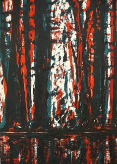 Bernd Zimmer, Wald-Spiegel-Wasser II, 2012, woodcut, measures: 77 x 54 cm, edition: 12