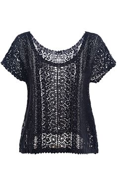 Super Sexy! Want it! Sexy Black Hollow-out Short Sleeves Lace T-shirt #Sexy #Black #Lace #T_Shirt #Date_Night #Fashion
