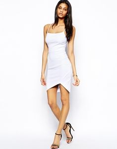 Image 4 of ASOS Textured Rib Asymmetric Body-Conscious Dress
