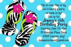 Zebra Print Flip Flops | Pool Party Invitations - Printable or Printed