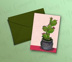 Texas Christmas Card  Prickly Pear Tree