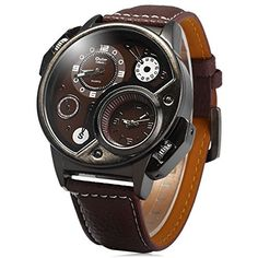 Military Sport Quartz Watch Leather strap Round Dial Famous brand luxury Clock Mens Wristwatch relogio masculino male Oulm  Brown *** You can find more details by visiting the image link. (Note:Amazon affiliate link)