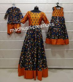 Mom And Son Outfits, Mom And Baby Dresses, Mother Daughter Dresses Matching, Mother Daughter Outfits, Matching Family Outfits, Kids Outfits, Mom Daughter, Kalamkari Dresses, Long Gown Dress