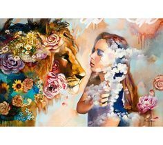 """Dimitra Milan's """"Heaven's Kiss"""" brings a beautiful girl face to face with a majestic lion. With soft colors and whimsical flowers, this is a masterpiece mixed media oil painting"""