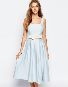 Image 1 ofChi Chi London Round Neck Midi Prom Dress with Box Pleats