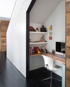 This desk tucked under the stairs features a wrap around desk, two wall mounted shelves, and a small filing cabinet - all the essentials you need for a functional home office. - 10 Small Home Office Ideas - Home Office Design, Home Office Decor, House Design, Home Decor, Office Ideas, Office Designs, Workspace Design, Office Furniture, Small Workspace