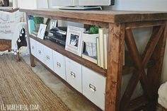 DIY media console with cubes/drawers