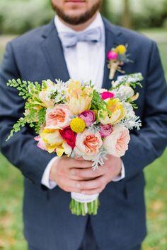 colorful bouquet // garden roses, ranunculus, craspedia, tulips, dusty miller and adiantum