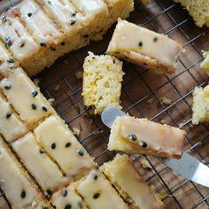 Ina Paarman | Granadilla Sheet Cake with Lemon Icing Baking Recipes, Cake Recipes, Dessert Recipes, Passionfruit Recipes, Lemon Icing, Vanilla Cake Mixes, Oven Racks, Cake Tins, Let Them Eat Cake