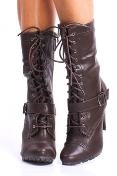 BROWN FAUX LEATHER LACE UP MID CALF BOOTS