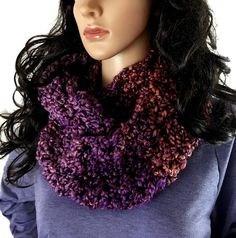 Outlander Claire Cowl Scarf Purple Copper Bulky Scottish Winter accessories Circle Scarf Crocheted Neckwarmer FREE SHIPPING FT16