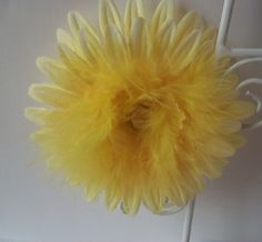 Yellow Daisy Hair Clip Yellow Feathers by MirroredSkyCreations, $5.00