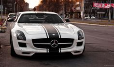 #Mercedes SLS 6.3 AMG    super awesome i love it especially because of black 3 stripe white and mercededs