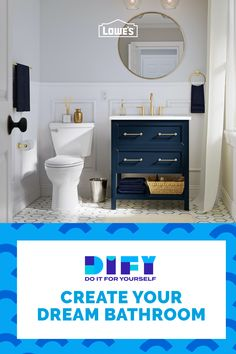 Don't just do it yourself, do it for yourself. Create your dream bathroom with trendy tubs, fresh fixtures and vanities from Lowe's. Small Bathroom, Upstairs Bathrooms, Bathroom Renos, Bathroom Kids, Bathroom Design Luxury, Bathroom Interior, Vanities, Lowes, Create Yourself