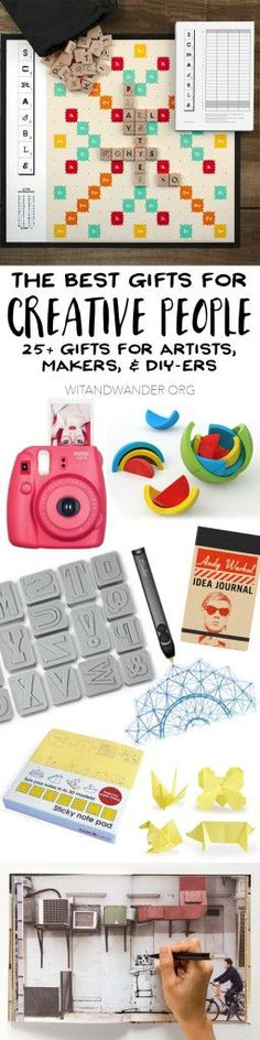 The Absolute Best Gifts for Creative People: Artists, Makers, and DIYers - Wit & Wander - The ultimate gift guide for creatives includes over 25 gift ideas that will inspire, encourage, and help your creative family member express their creative side! Quirky Gifts, Unique Gifts, Best Gifts, Creative People, Creative Gifts, Craft Gifts, Diy Gifts, Gifts For An Artist, Neighbor Gifts