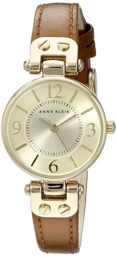 d769781c0 Amazon.com: Anne Klein Women's 109442CHHY Gold-Tone Champagne Dial and  Brown Leather Strap Watch: Anne Klein: Watches