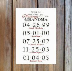 GRANDMA GIFT Grandchildren Birthday Dates by ... | grammies place