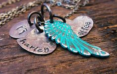 Two pair of angel wings for my baby angels, then tags for Alora, Jack, Cody and Grandma