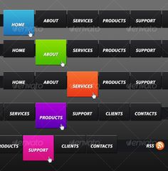 Colorful Horizontal Navigation Menu - GraphicRiver Item for Sale