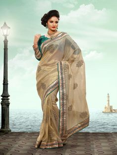 Tissue Exotic Beige Embroidered Saree - http://www.fteens.com/shop/tissue-exotic-beige-embroidered-saree/