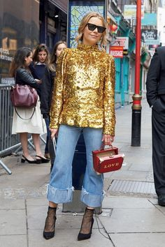 It's not that I like the glittering tops - what I like is the folded cropped length of the pants with sheer socks matched on simple pumps.